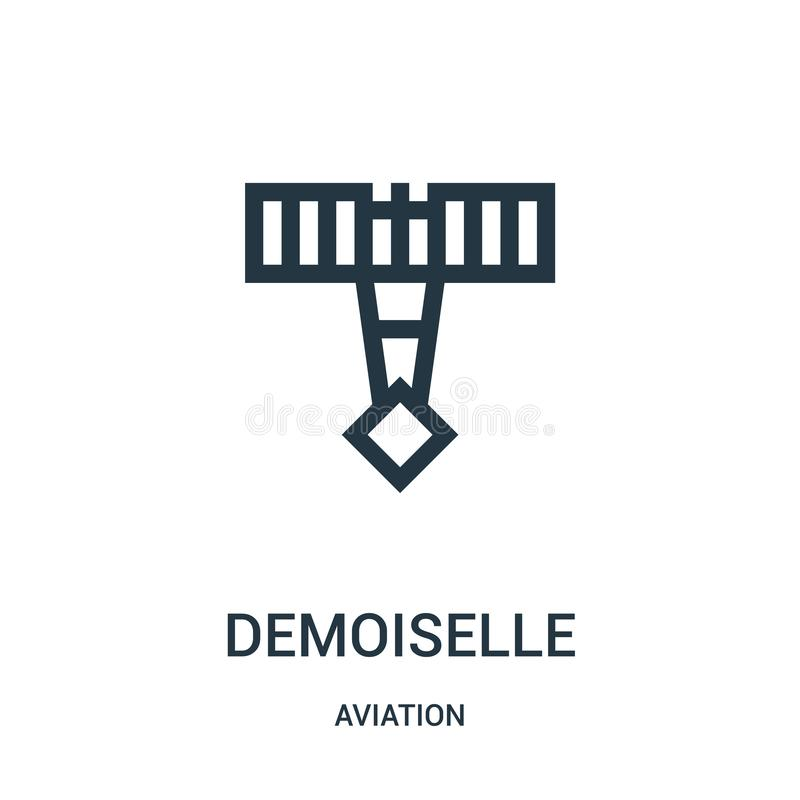 Demoiselle icon vector from aviation collection. Thin line demoiselle outline icon vector illustration. Linear symbol for use on. Web and mobile apps, logo royalty free illustration