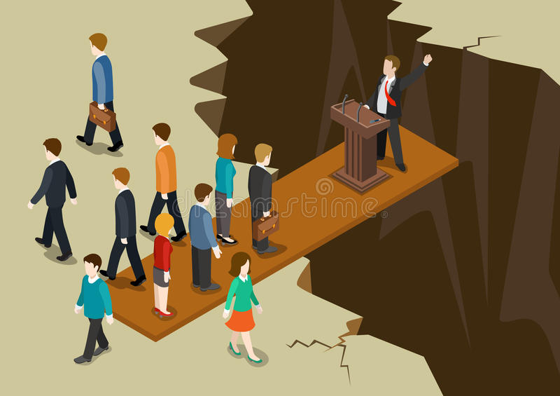 Demokracj polityka systemu niezrównoważenia collaple pojęcia płaska 3d sieć isometric ilustracja wektor