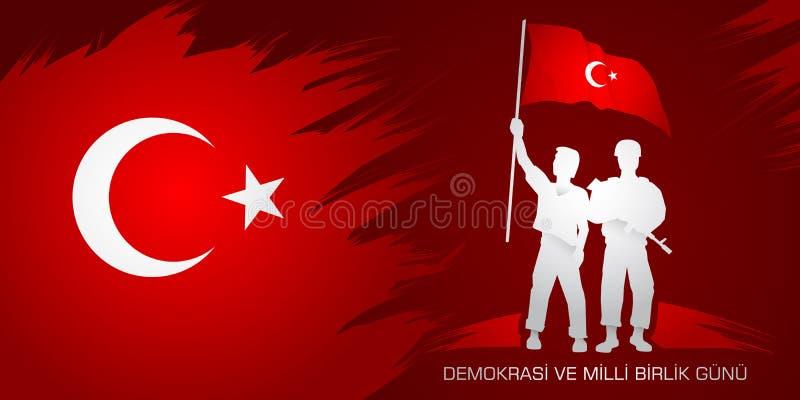 Demokrasi ve milli birlik gunu 从土耳其语的翻译:7月15日民主和民族团结天 皇族释放例证