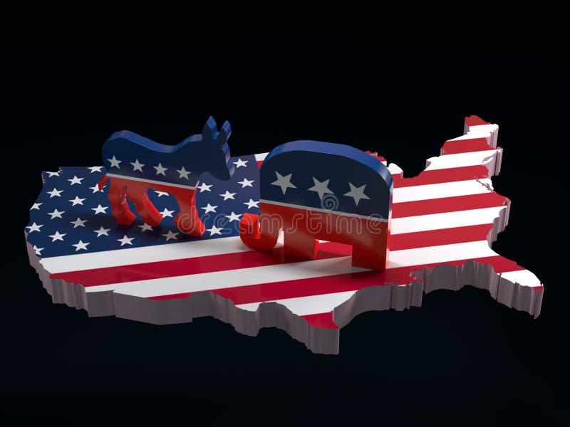 Demokratåsna vs republikanelefantsymboler på USA översikten royaltyfri illustrationer