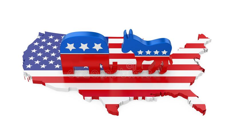 Demokrat-Esel und republikanischer Elefant mit Amerika-Karten-Flagge lizenzfreie abbildung