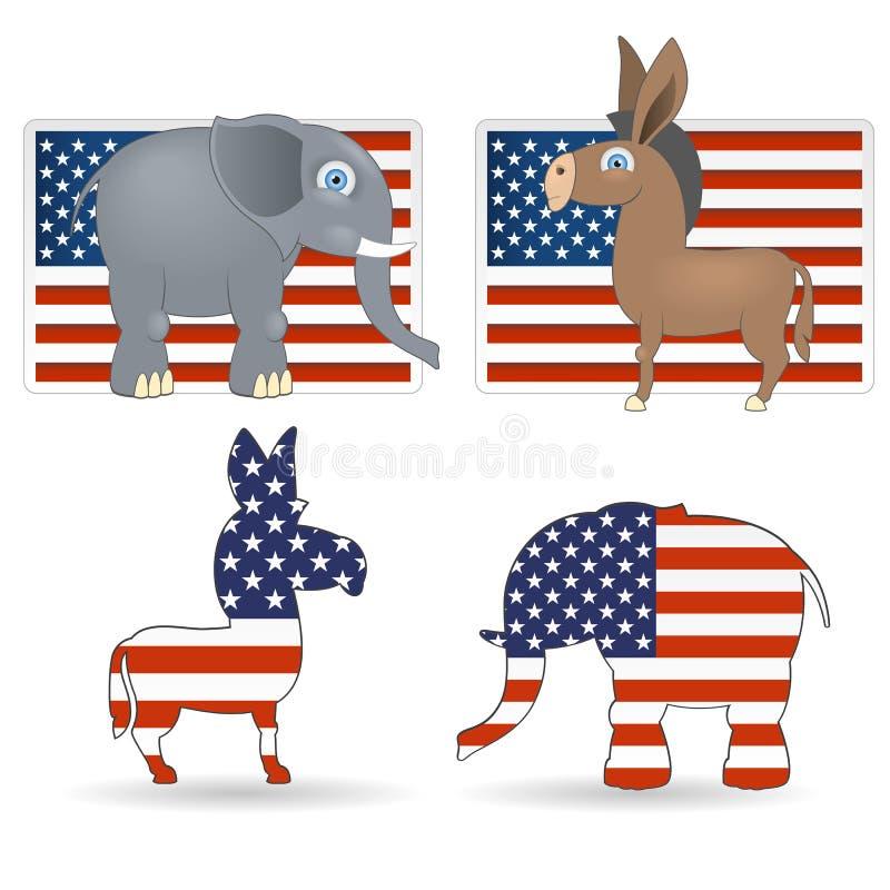 demokrata republikanina symbole ilustracja wektor