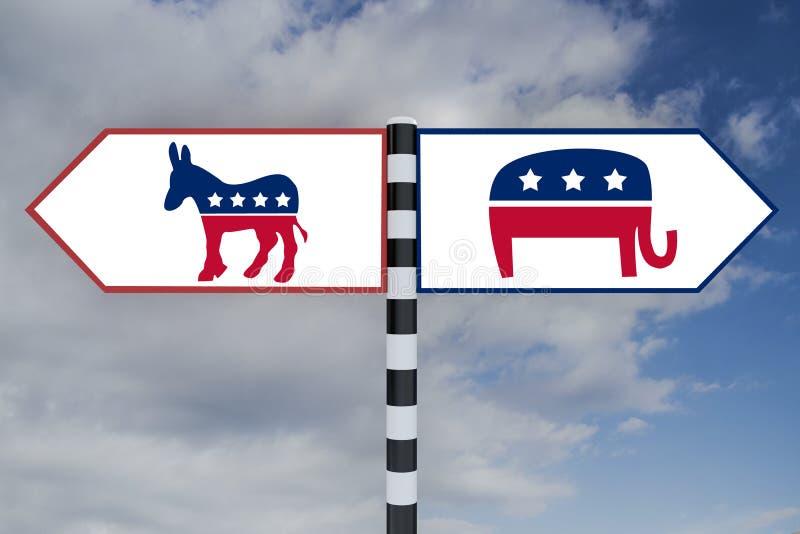 Demokrata vs Republikański pojęcie ilustracji