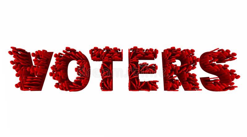 Demokrati Demo Groups Word för väljarefolkval royaltyfri illustrationer