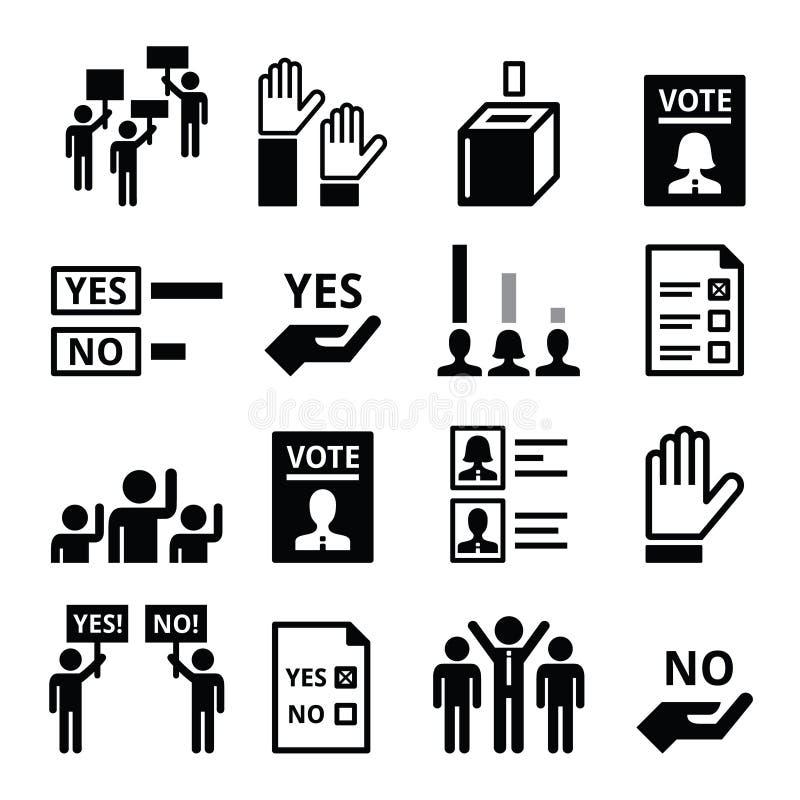 Demokratie, wählend, Politikvektor-Ikonensatz vektor abbildung