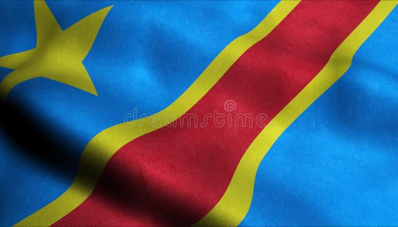 Demokratische Republik Kongo, das Flagge in 3D wellenartig bewegt lizenzfreie abbildung