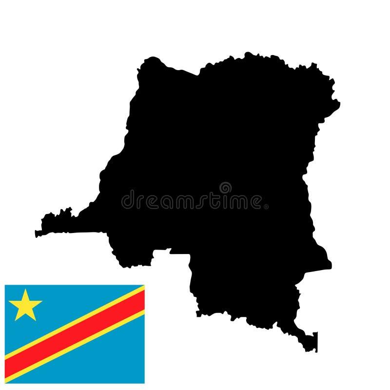 Demokratiska republiken Kongo översiktskontur och Demokratiska republiken Kongo flagga royaltyfri illustrationer