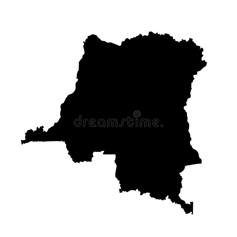 Demokratiska republiken Kongo konturöversikt royaltyfri illustrationer
