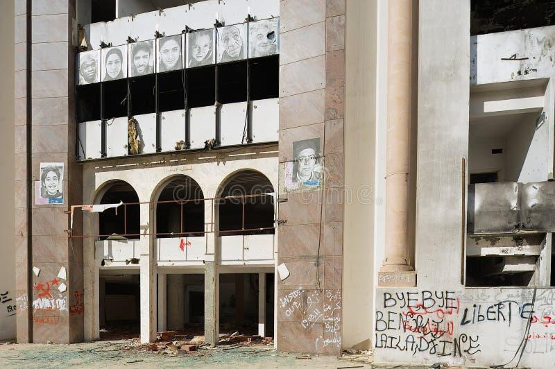 Demokratiskt konstitutionellt samlar partibyggnad som fördärvas under den arabiska våren i Sfax, Tunisien royaltyfri foto