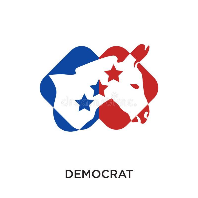demokratlogo som isoleras på vit bakgrund för din rengöringsduk, mobil royaltyfri illustrationer