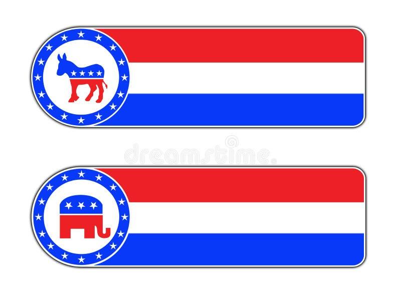 Demokratyczna i Republikańska ikona ilustracja wektor