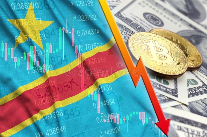 Demokratyczna republika Kongo cryptocurrency i flagi spada trend z dwa bitcoins na dolarowych rachunkach zdjęcia royalty free