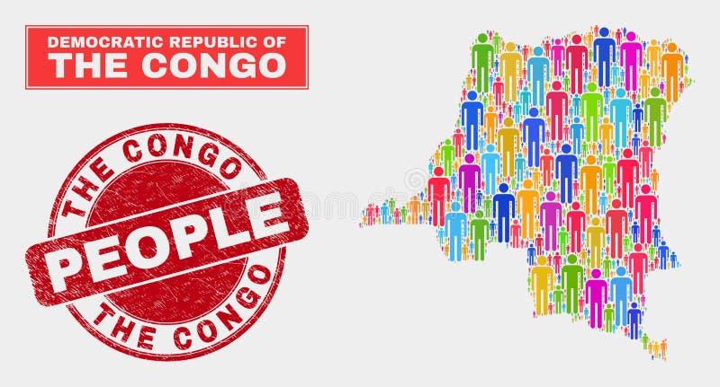 Demokratyczna republika Kongo mapy populacji Grunge i Demographics foka ilustracja wektor