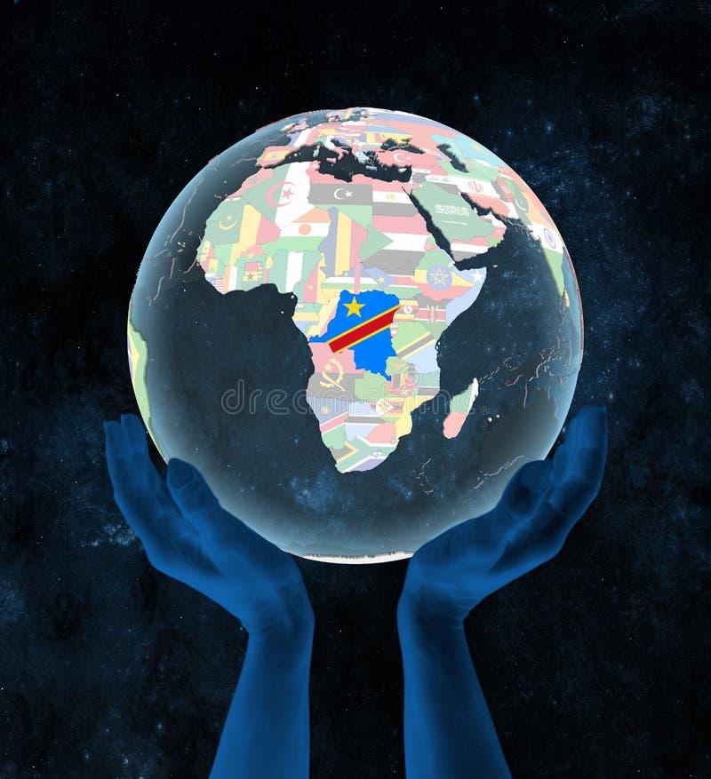 Demokratyczny Republika Kongo na politycznej kuli ziemskiej w rękach ilustracja wektor