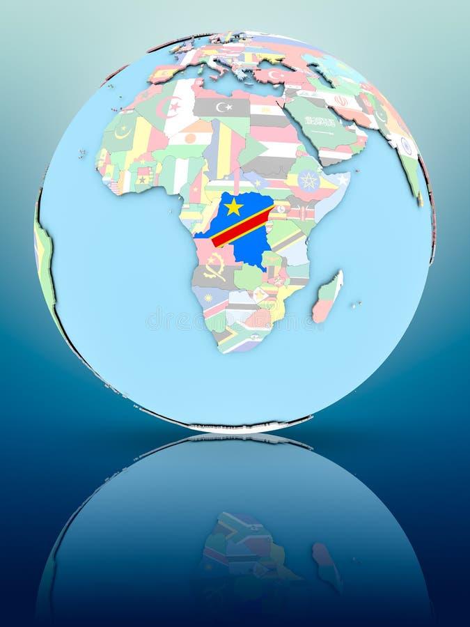 Demokratyczny Republika Kongo na politycznej kuli ziemskiej z flaga royalty ilustracja
