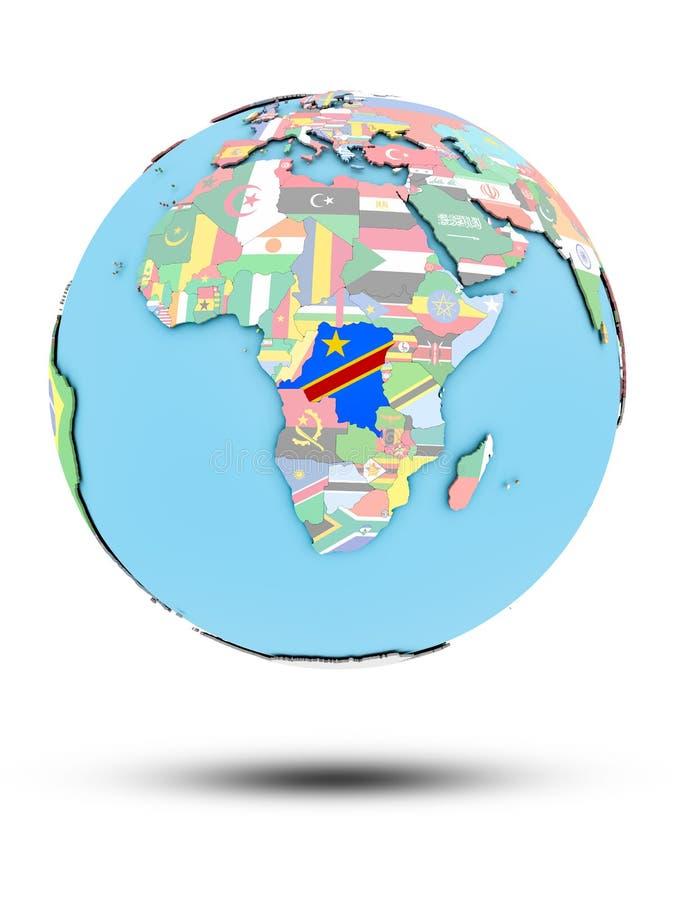 Demokratyczny Republika Kongo na politycznej kuli ziemskiej z flaga ilustracji