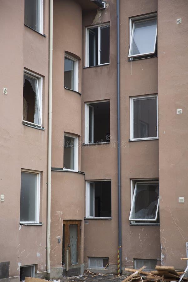 demolerat hus arkivfoto