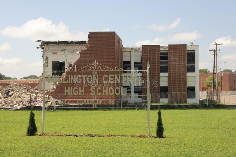 Demolição da High School central de Millington fotos de stock