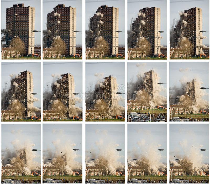 Demolição do bloco de torre imagens de stock royalty free