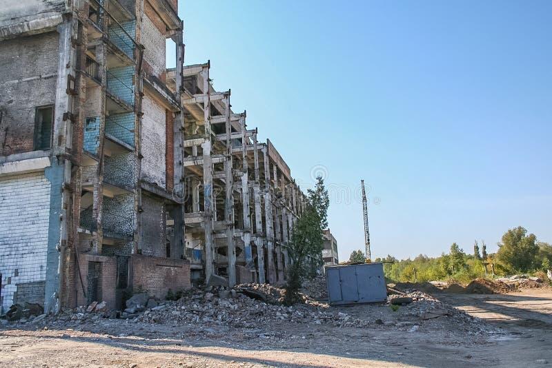 Demolição do central química velho fotografia de stock