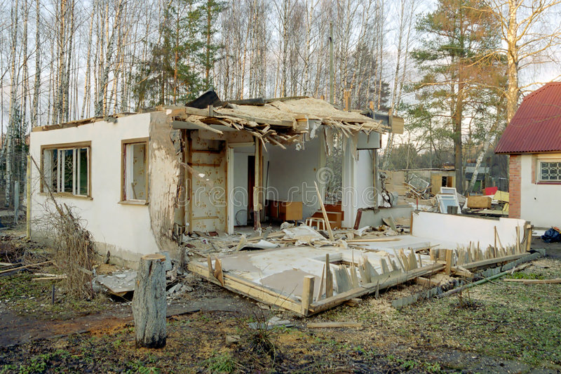 Demolish house. Demolish old house before renovation stock images