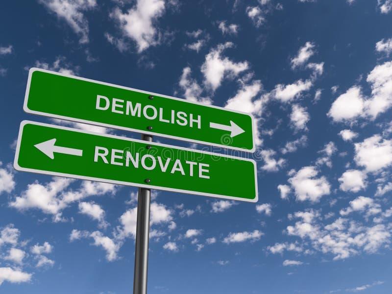Demolish renovate traffic sign. On blue sky stock photo