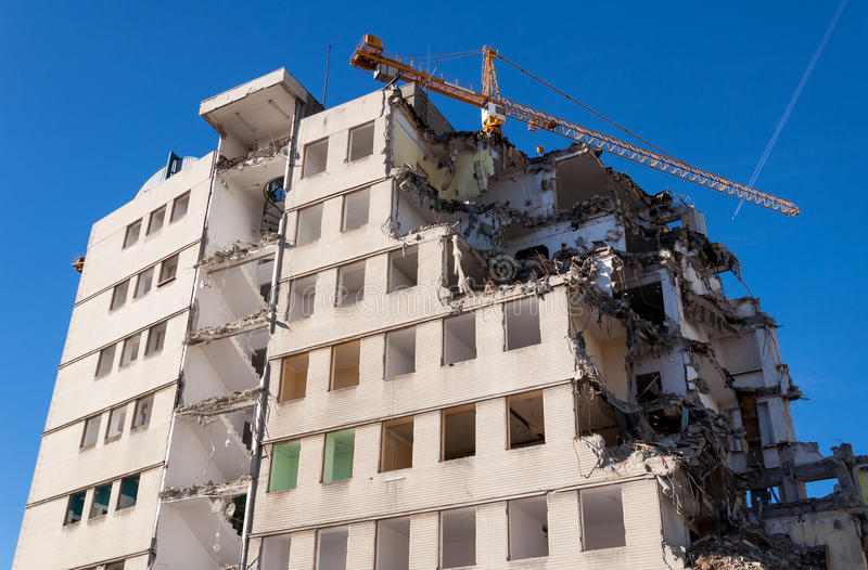 Demolished building. View of demolished house at construction site stock photos