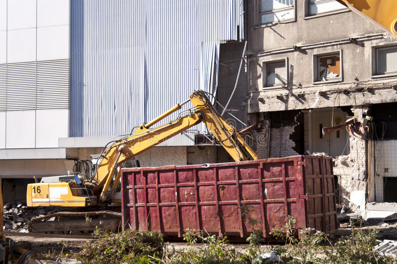 Demolishing building. In Kiel, Germany stock photos