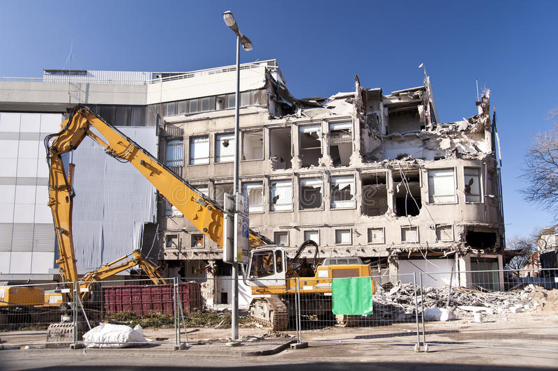 Demolishing building. In Kiel, Germany royalty free stock photos