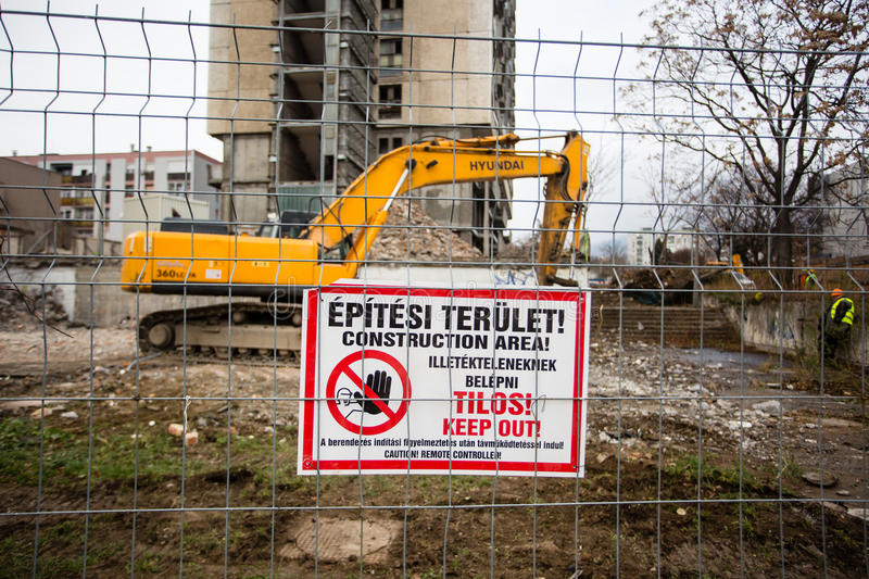 Demolishing the 25 floor building. PECS - DECEMBER 10 : Demolishing the 25 floor building on 10 December 2015 in Pecs, Hungary. The 25 floor building is the royalty free stock photography