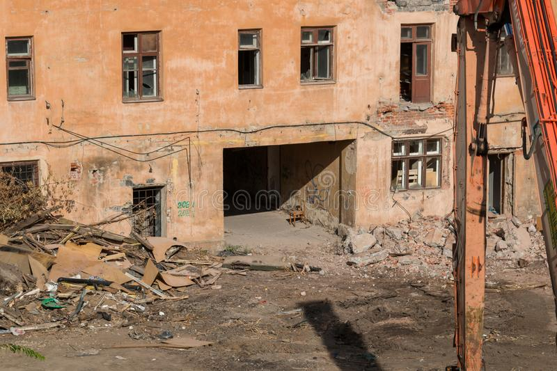 Demolition of an apartment house royalty free stock images