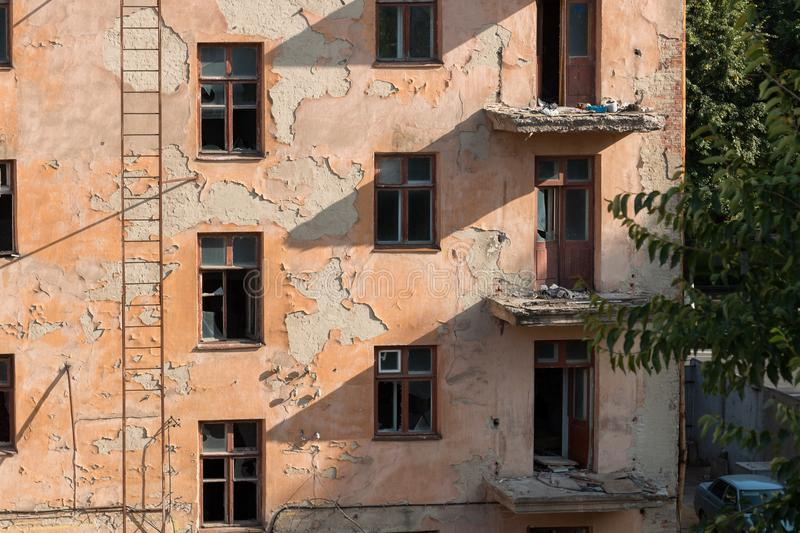 Demolition of an apartment house royalty free stock image