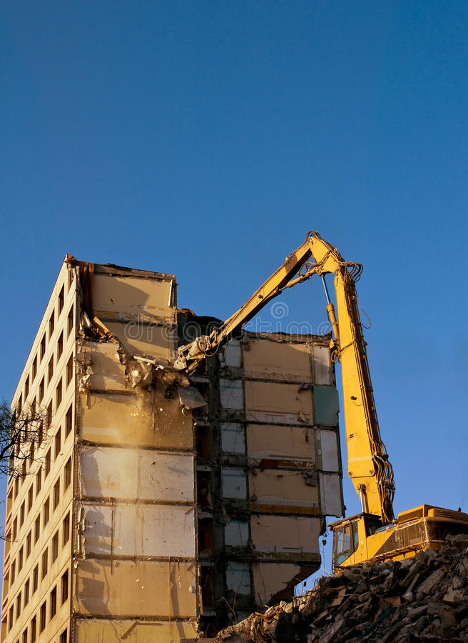 Download Demolition of a building stock photo. Image of bite, dust - 24120338
