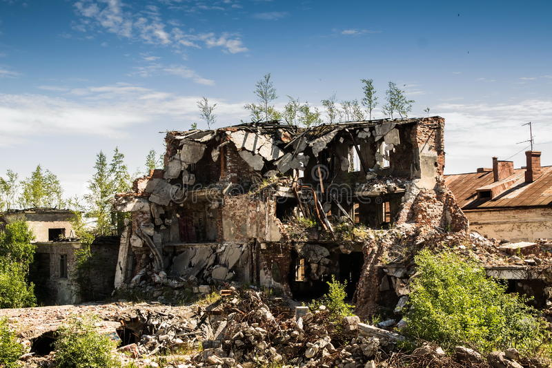 Demolition of buildings in urban environments. stock image