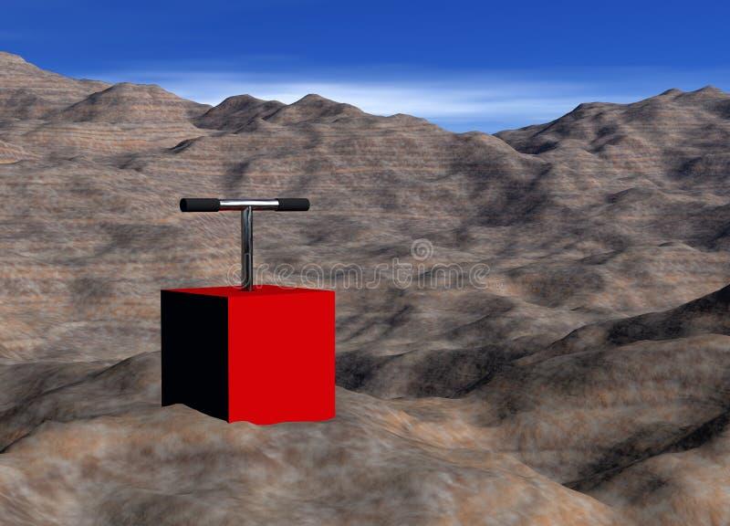 Demolition Control Box on Rock Landscape. 3d Red Demolition Control Box on Rock Landscape with Plunger Up vector illustration