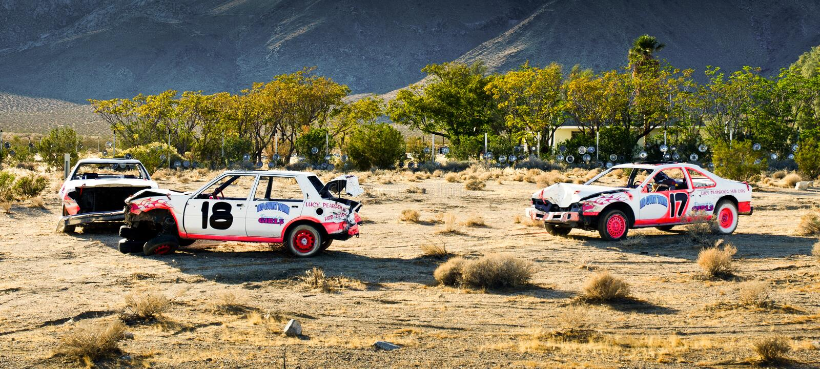 Demolition Derby Aftermath royalty free stock photography
