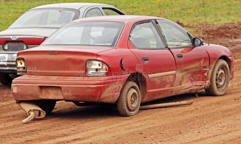 Demolition derby car exhaust spare tire stock photos