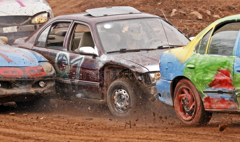 Demolition derby car three collide stock photography