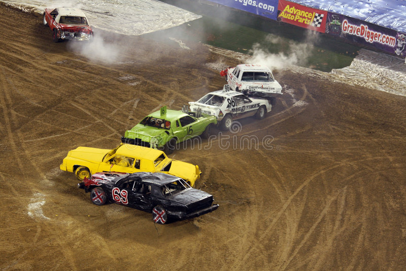 Demolition derby cars stock photo