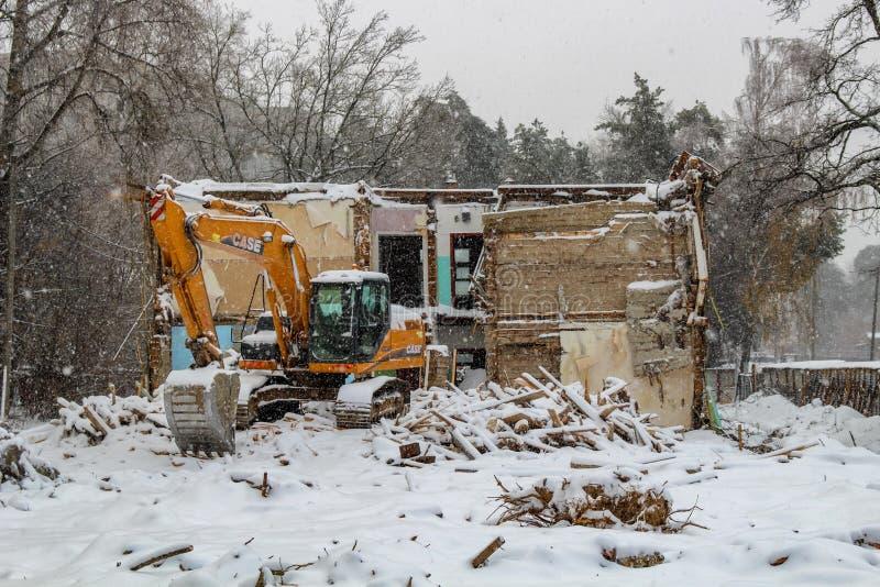 Demolition of dilapidated houses on Komsomolskaya Street. NOVEMBER 2016 - OBNINSK, RUSSIA stock photos