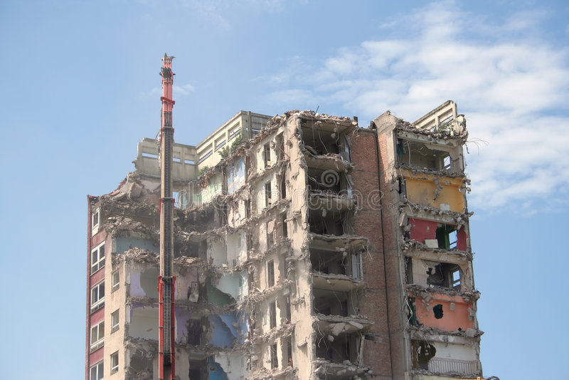 Demolition of flats royalty free stock photos