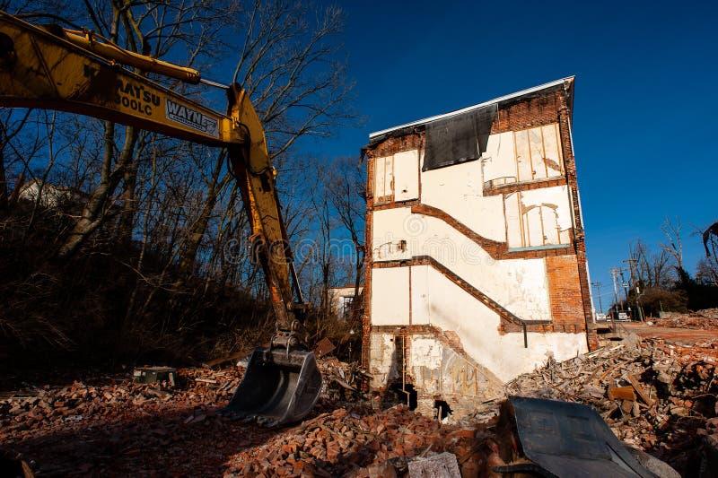 Demolition of Historic Brick Buildings - Glencoe-Auburn Homes - Cincinnati, Ohio. Demolition progresses on historic brick townhomes in the Glencoe-Auburn royalty free stock image
