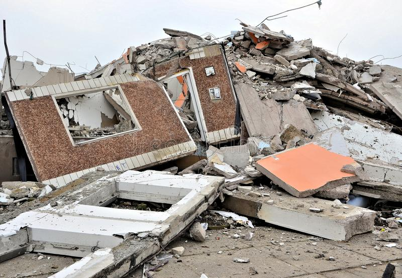 Demolition of a house royalty free stock photography