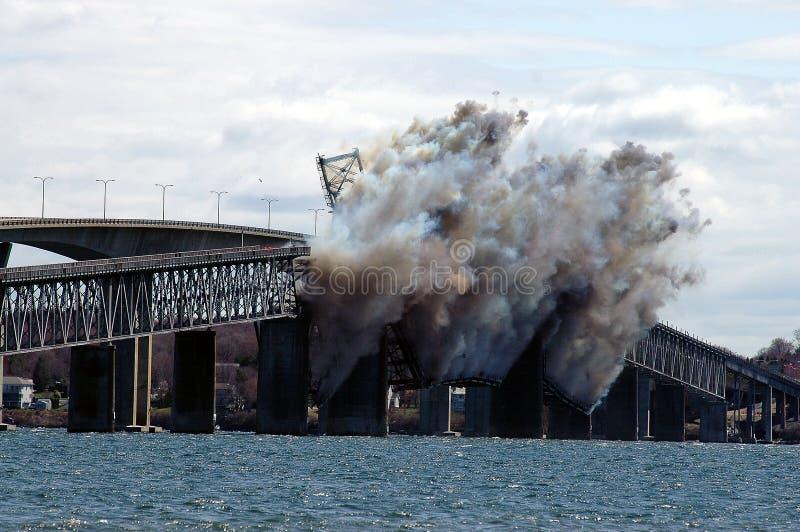 Demolition of the Jamestown Bridge stock images