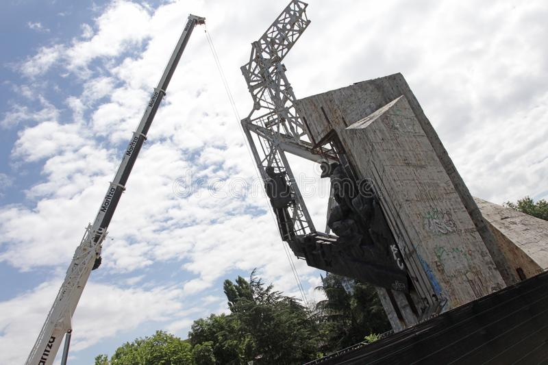 """Demolition of the monument """"1300 years of Bulgaria"""" near by NDK in Sofia, Bulgaria – july 4, 2017. Communist regime. Demolition of the stock image"""