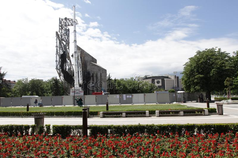 """Demolition of the monument """"1300 years of Bulgaria"""" near by NDK in Sofia, Bulgaria – july 4, 2017. Communist regime. Demolition of the stock photography"""