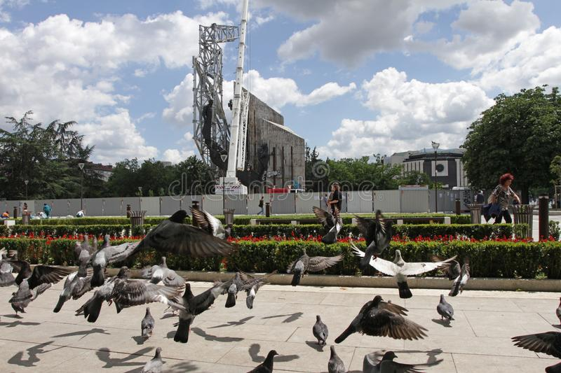 """Demolition of the monument """"1300 years of Bulgaria"""" near by NDK in Sofia, Bulgaria – july 4, 2017. Communist regime. Demolition of the stock photo"""