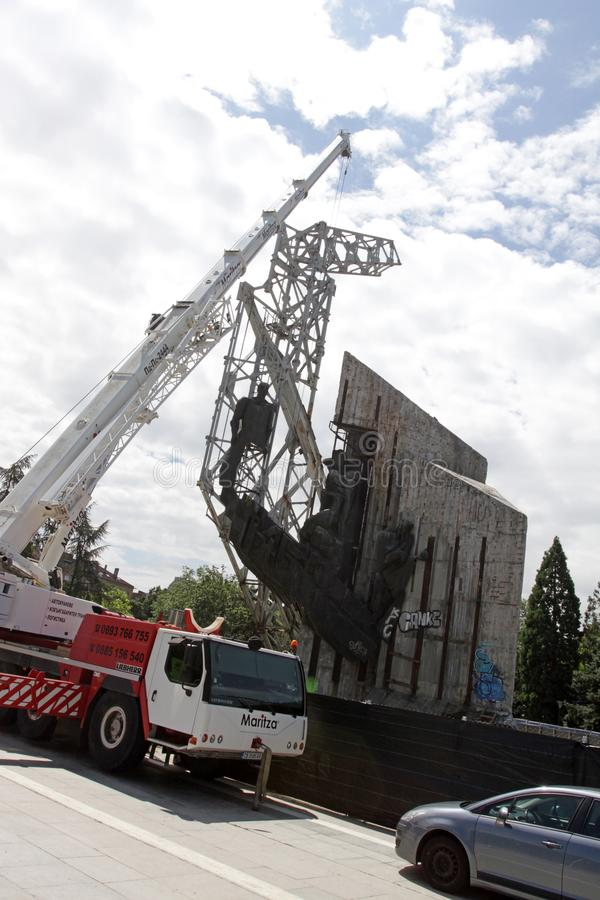 """Demolition of the monument """"1300 years of Bulgaria"""" near by NDK in Sofia, Bulgaria – july 4, 2017. Communist regime. Demolition of the stock photos"""