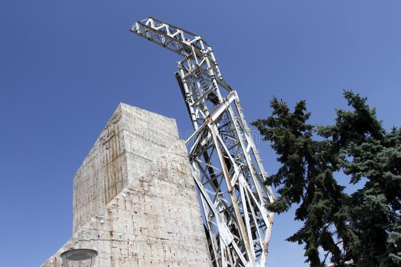 """Demolition of the monument """"1300 years of Bulgaria"""" near by NDK in Sofia, Bulgaria – july 4, 2017. Communist regime. Demolition of the royalty free stock photo"""