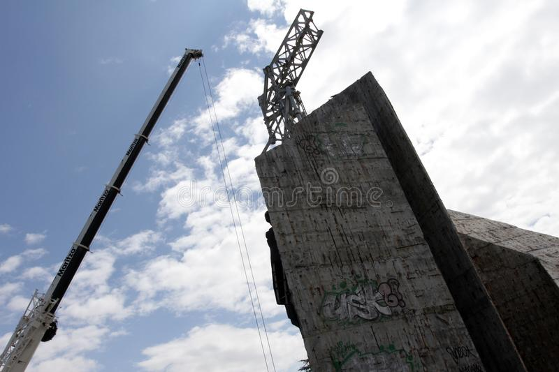"""Demolition of the monument """"1300 years of Bulgaria"""" near by NDK in Sofia, Bulgaria – july 4, 2017. Communist regime. Demolition of the royalty free stock photos"""